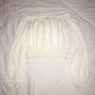 H&M White Off Shoulder Top