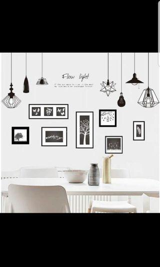 🚚 2 in 1 Large size Creative chandelier wall sticker living room bedroom TV sofa bed background wall wall decoration self-adhesive painting decals🔘Size see last picture *CM