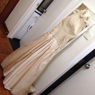 Nude Pearl embellished bodice and Raw silk gown