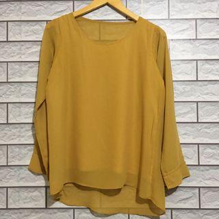 Mustard top blouse kemeja sifon chiffon