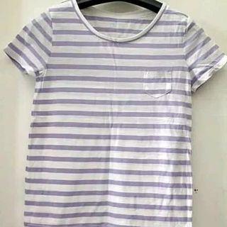 Baju Gapkids Girl Crew Neck Stripe Purple Tee Baju anak Perempuan