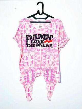 Damn I Love Indonesia T-shirt Pink Army Crop Top Big Size