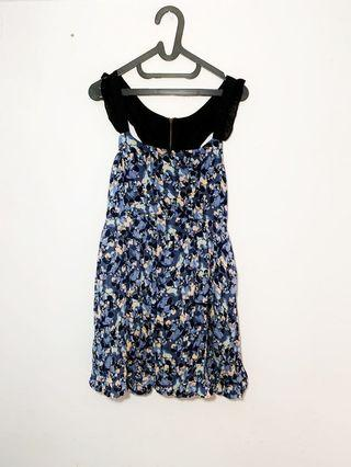 Big Size Jumbo Froral Blue Summer Dress