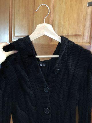 Black Knit Hooded Cardigan