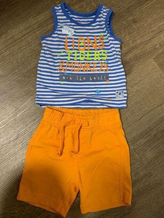 🚚 Mothercare Baby Boy Sleeveless Top and Shorts Set Blue Stripes Orange