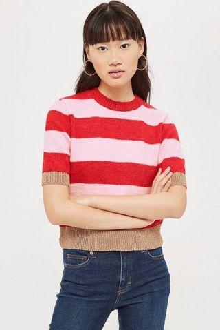 Topshop metallic thread stripe top