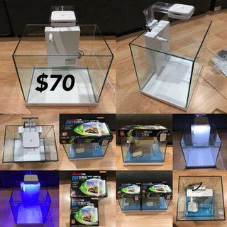 🚚 Mini home-style fish tank aquarium glass fish tank with Hanging Filter  Led Lamp  Glass cover