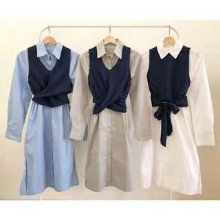 Set Shirt Dress With Tied Outer