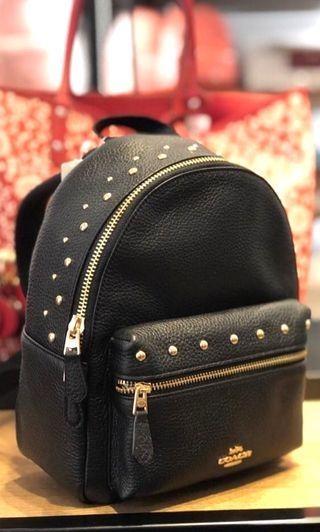 230- INSTOCK FOR MOTHER'S DAY! Coach Mini Charlie Backpack in Rivet Stud Design ☆AUTHENTIC☆