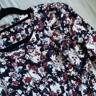 Red Blue and White Berry and Floral Print Dress with Ruffle Details on the Chest