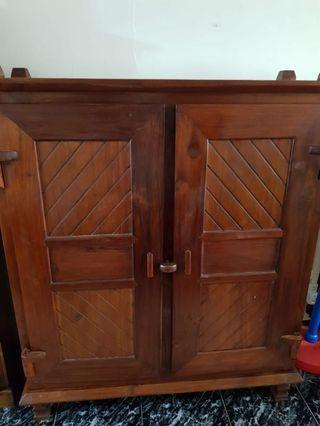 🚚 Natural Teak Cabinet with Shelves for Storage @$300