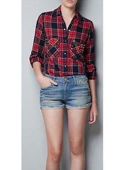 🚚 Zara Red Checkered Flannel Shirt #endgameyourexcess #mrthougang #mrtserangoon #mrtpunggol