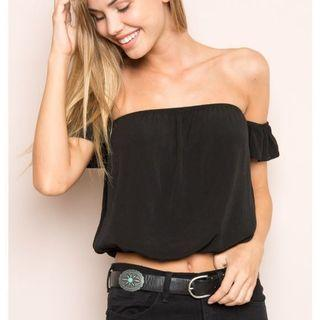 Zara Eyelet Black Off Shoulder Top  #endgameyourexcess #mrthougang #mrtserangoon #mrtpunggol