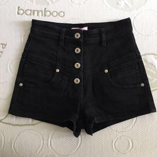 Supre Size XS (6-8) Stretchy Denim 4 Button Black High Waisted Shorts
