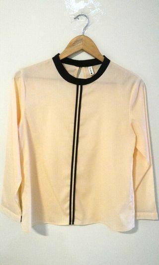 KODZ long-sleeve blouse (beige/black)