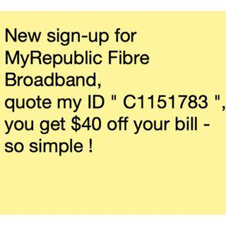 C1151783 MyRepublic Referral Code Fibre Broadband New Sign-up