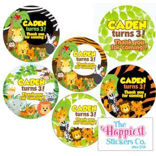 Animal Wild forest Safari theme birthday sticker label customised for party goodie bag favor door gift baby shower 100 day full month