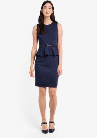 🚚 Zalora Peplum Work Navy Dress  #endgameyourexcess #mrthougang #mrtserangoon #mrtpunggol