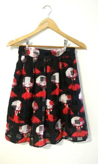 Skirt with doll print (black/red, organza)