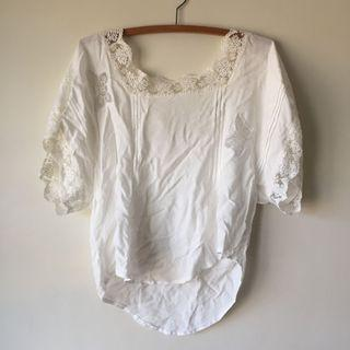 Beautiful White Boho Flowing Lace Top Curved Cropped Hem Butterfly Cutout Detail