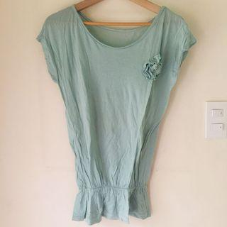 Mint Green Cotton Top with Rose Accent