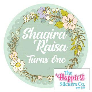 Green Floral theme birthday sticker label customised for party goodie bag favor door gift baby shower 100 day full month