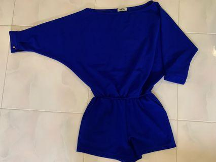 Cobalt Blue Jumpsuit With Batwing Sleeve One piece free size