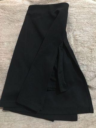 High Slit Black Skirt