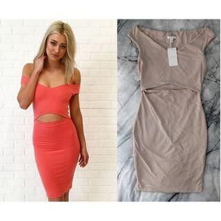 KOOKAI Emily Dress Nude Cut Out Midi Off Shoulder Bodycon Tight Mushroom Beige