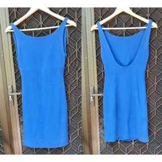 Kookai Low Back Dress High Neck Royal Dark Blue Cotton Bodycon Mini