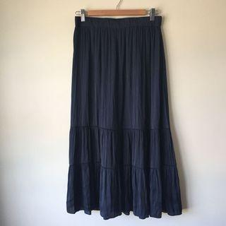 Gorgeous Indigo Navy Blue Maxi Skirt Flowing Layered