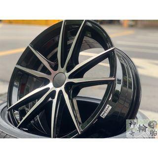 17吋鋁圈 耀麒鋁圈 黑底車亮面 7.5J ET35 型號EK4 配全新輪胎215/45/17 大特惠促銷價 限量一組