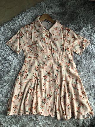ZARA Floral Peach Dress