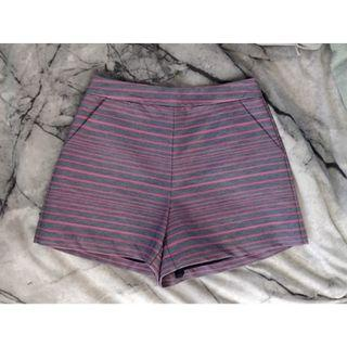 KOOKAI Shorts Navy Pink Striped Pattern Structured Design Cue Meshki Bardot Saba