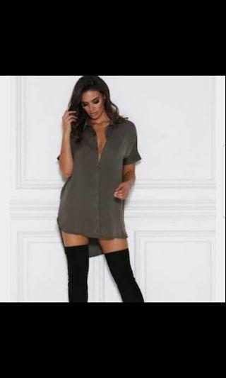Meshki Satin Shirt Dress