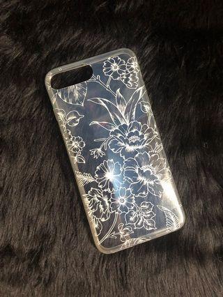 Bershka transparent white flowers silicone case iphone7/8+