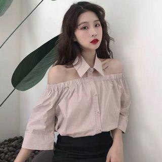 🆕🇰🇷🇨🇳 chic collared off shoulder top