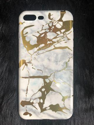 White & Gold marble iphone7/8+ case