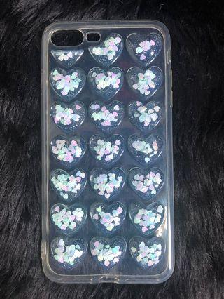 3D hearts silicone iphone7/8+ case