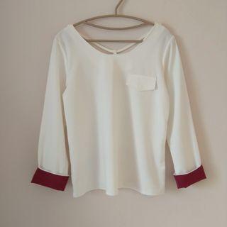 🚚 白色厚雪紡長袖襯衫