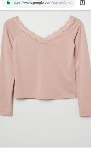 Pink h&m Off shoulder top