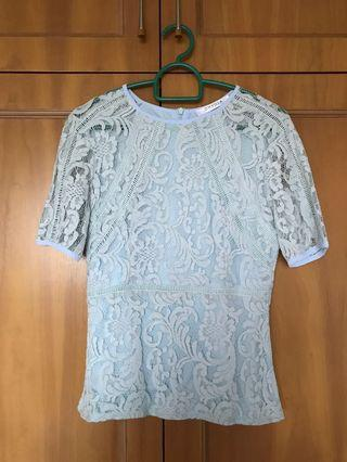 Ohvola lace top in pale blue