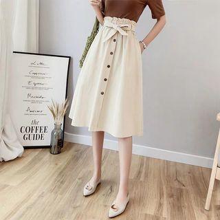 Paperbag High-Waisted Midi Skirt in Cream/White
