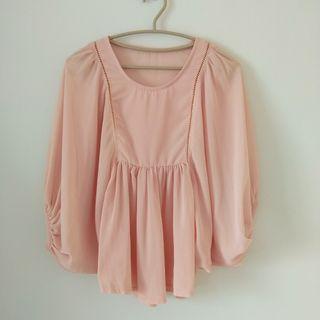 🚚 粉橘色雪紡燈籠袖襯衫#半價衣服拍賣會