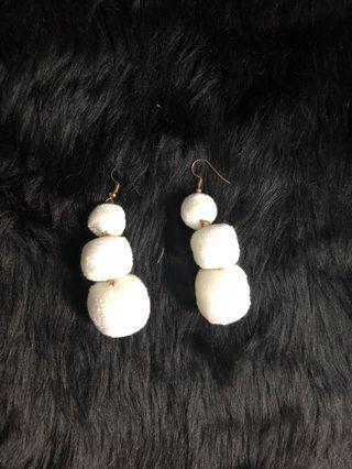 White snowball fluff dangling earrings