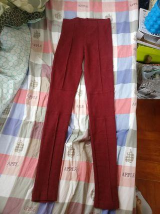 包郵棗红色厚身Leggings