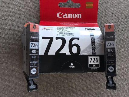Canon Printer 726 black cartridges (3)