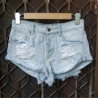 POPCHERRY light blue denim cut offs distressed frayed short shorts showpo stelly beginning boutique city beach glassons festival skate summer beach