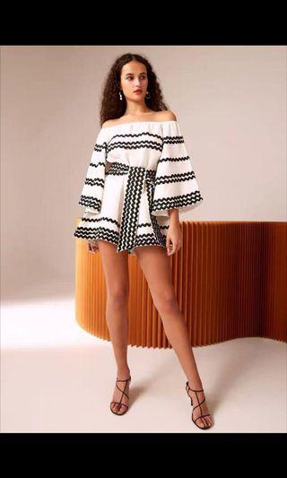 White with Black Trimming Playsuit