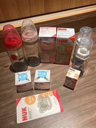 🚚 Nuk 全新奶瓶(2大+2小)贈安撫奶嘴、2小奶瓶(二手的)